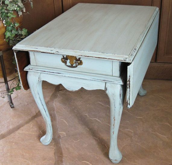 Shabby Chic Wooden Drop Leaf Side Table Hand Painted Shabbily Distressed By  OlliesFineThings On Etsy,