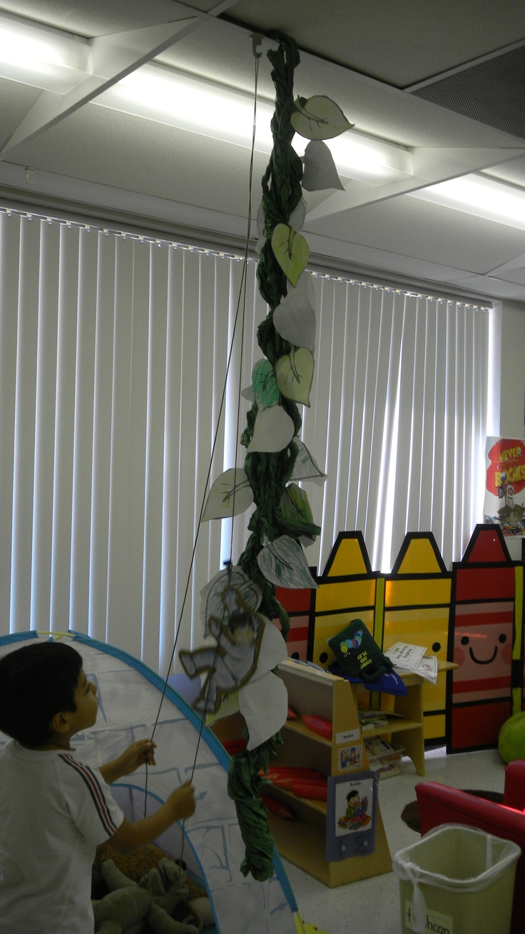"Cute project when learning about Jack and the Beanstalk. Each student colors/cuts out a leaf, twists a long piece of green butcher paper, and decorates a ""Jack"" with their picture on it. A string on a pulley system is created and the beanstalk is put together and hung next to the pulley. The kids are then able to make their ""Jack"" go up and down the beanstalk and dictate stories about what is at the top, etc. They LOVE this activity!"