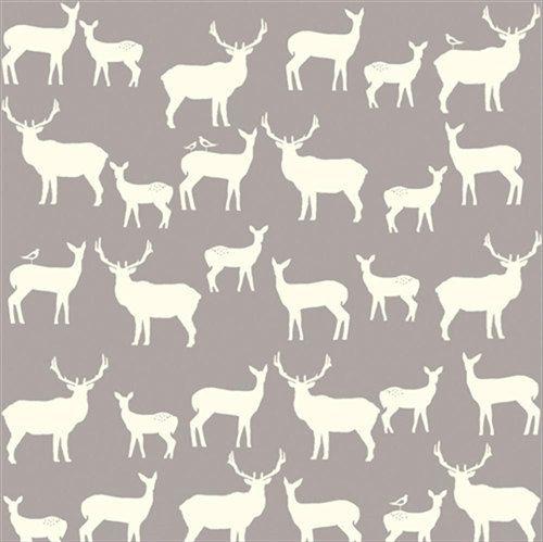 Home Gray Woodland Animals Fabric By The Yard Jay Cyn Designs For Birch Organic Fabrics Elk Grove KNIT Fam Shroom Fabricworm Always Brings You