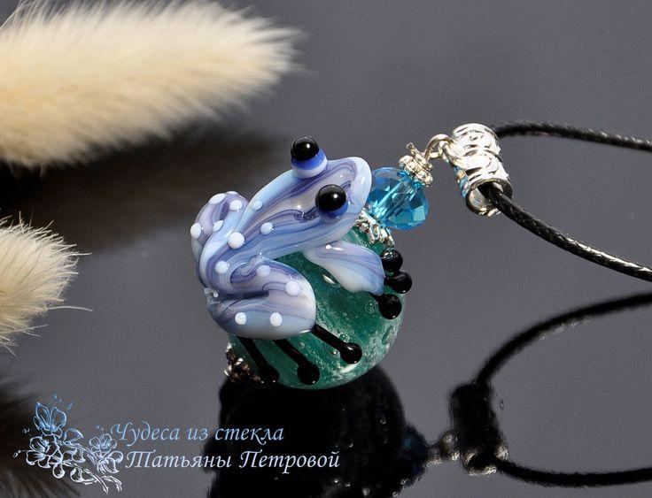 """Купить Кулон """"Снежинка"""", лэмпворк - лягушка, бирюзовый, голубой, подарок, бусина, лягушонок, украшение с лягушкой"""