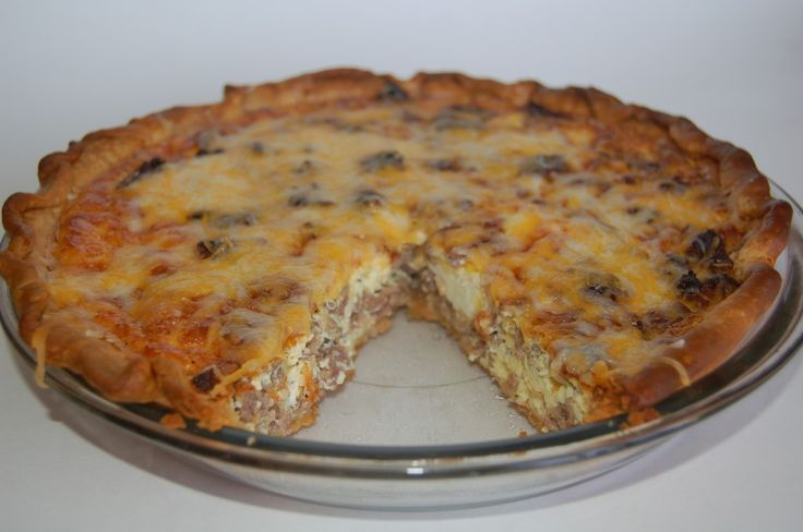 Sausage and Egg Quiche    1 roll of breakfast sausage  1 cup milk  3-5 eggs  1 cup shredded cheddar cheese  1 pie crust  Cook for 45-50 minutes at 375 or until toothpick comes out clean.