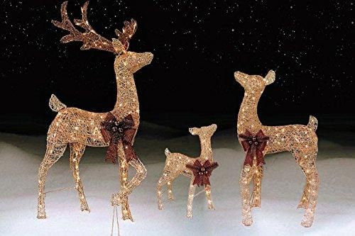 3 piece Pre-lit Outdoor LIGHTED REINDEER FAMILY, CHAMPAGNE GOLD Lawn  Decoration Set - - 3 Piece Pre-lit Outdoor LIGHTED REINDEER FAMILY, CHAMPAGNE GOLD Lawn