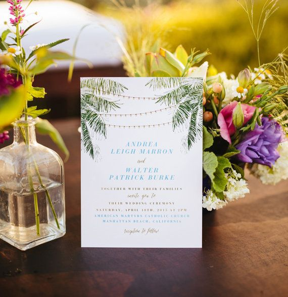 Beach Wedding Invitation Coastal Wedding by CitrusPressCo on Etsy