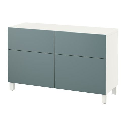 BESTÅ Storage combination w doors/drawers, white, Valviken gray-turquoise white/Valviken gray-turquoise 120x40x74 cm drawer runner, soft-closing