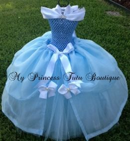 Cinderella dress make with tulle, ribbon, and crocheted bodice