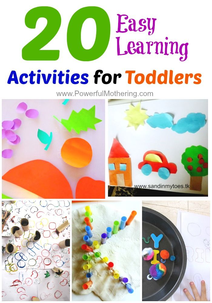 here's a list of 20 easy ideas for toddlers that can be set up fairly easily with little resources, and promise lots of learning opportunities.
