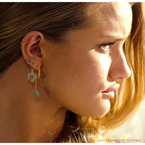 Signature Crest Stud Earrings worn by Rosie Huntington-Whiteley (Carly) in Transformers 3 | Ginger Peachy Designs - Fun, Fine, & Fabulous Jewelry