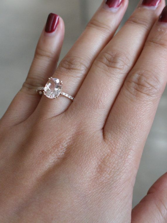 18K rose gold diamond double prong engagement ring featuring a natural oval brilliant cut morganite measuring 9 x 7 mm and weighing 2.20 ct. (VS