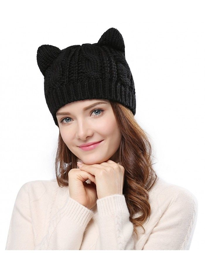 Women s Hat Cat Ear Crochet Braided Knit Caps - Black - CP11QAD2YQF - Hats    Caps b256357c3271