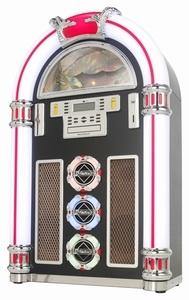 Ricatech RR1600 XXL Retro LED Jukebox Black. Deze jukebox wordt compleet geleverd met een CD speler die mp3-bestanden leest, digitale AM / FM-radio, USB poort en SD kaart slot. Aan de achterzijde van de jukebox treft u de aux-ingang, externe luidsprekeraansluiting en de lichtregelaar aan. Met de aux-in kunt u elke mp3-speler, smartphone of (tablet) PC aansluiten. De aux-uit geeft u de mogelijkheid de jukebox op elk entertainment systeem aan te sluiten.