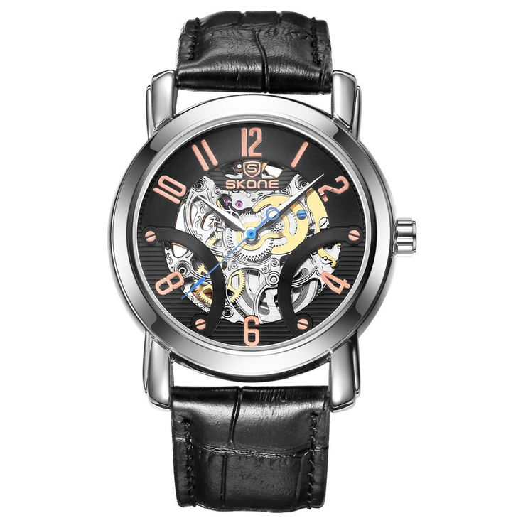 SKONE 40mm Luxury Skeleton Automatic Watches for Men with Genuine Leather Strap #SKONE #Luxury