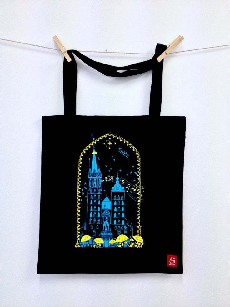 #Market_Square #Krakow #cotton #bag  #souvenir #illustration #screenprint #dawanda