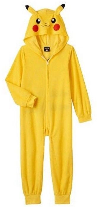Pokemon PIKACHU Pajamas Boy's 4/5 NeW Zip-Up Hooded Pjs Union Suit Costume USA  #AME #OnePieceHoodedPjs