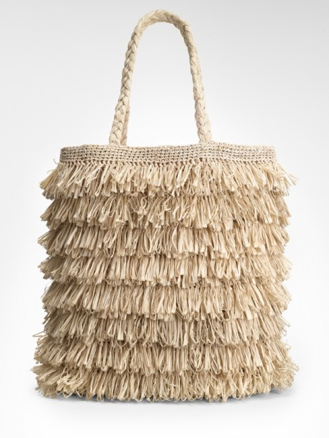 Tory Burch Raffia Tote  Like a tiki hut on your arm, this tote lets you take that summer vacation feeling with you wherever you go. A style statement with layers of texture-rich raffia, a braided handle, and printed silk lining, it's also completely practical for stashing everything under the sun. We also love that it's handcrafted by artisans in Madagascar.   http://www.ivillage.com/spring-summer-handbags-2012-purses-bags/5-b-440685#ixzz1seEFmNbi