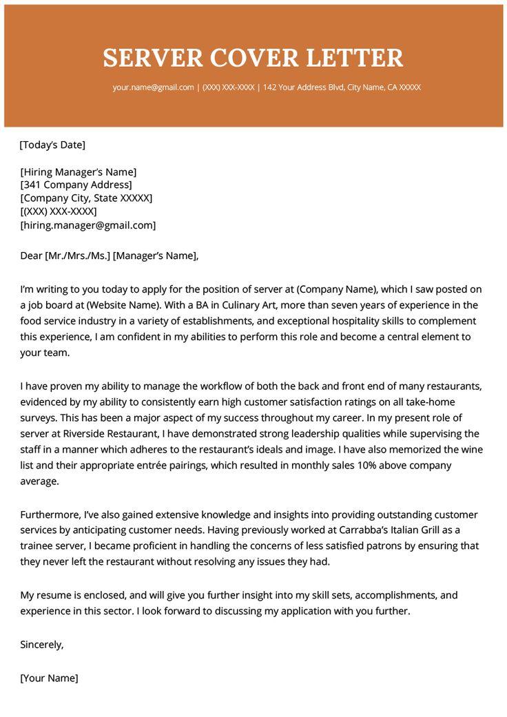 Server Cover Letter Example Resume Genius Cover letter