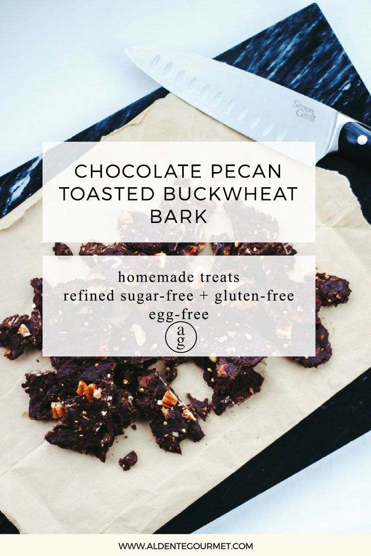 Chocolate Pecan Toasted Buckwheat Bark. Delicious Homemade Treats you can make in minutes!