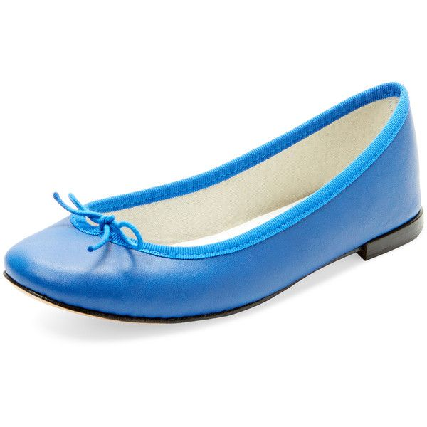Repetto Women's Cendrillon Leather Ballet Flat - Blue, Size 36.5 (£180) ❤ liked on Polyvore featuring shoes, flats, blue, leather ballet shoes, ballet flats, blue ballet shoes, blue ballet flats and ballerina pumps