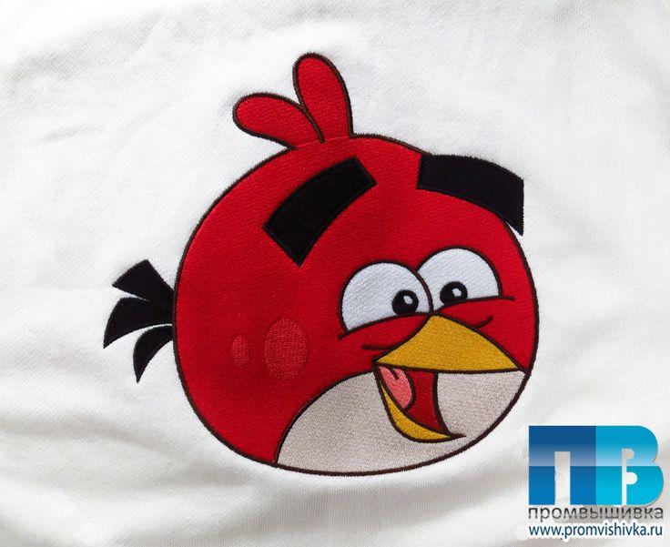 Вышивка Angry bird на трикотажной кофте