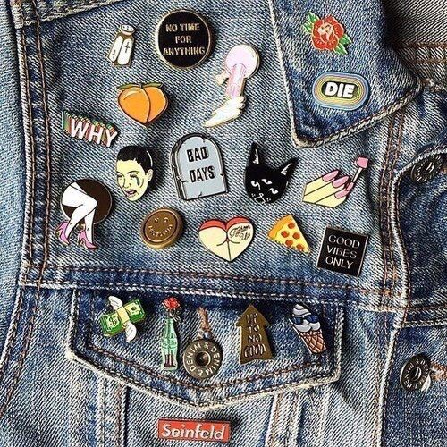 See this is like what I want to do with all the pins and patches and put them on one of my jean jackets