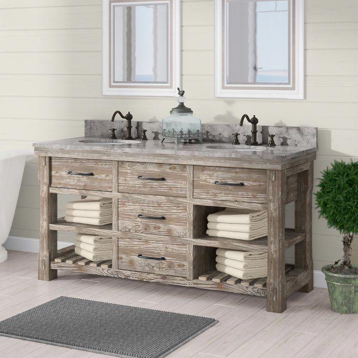 Bathroom Vanity Rustic Vanities, Clemmie 61 Double Bathroom Vanity Set With Linen Tower