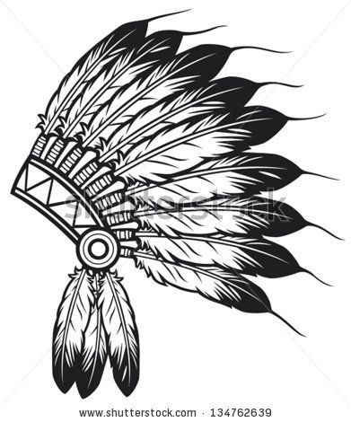 native american indian chief headdress (indian chief mascot, indian tribal headdress, indian headdress) - stock vector