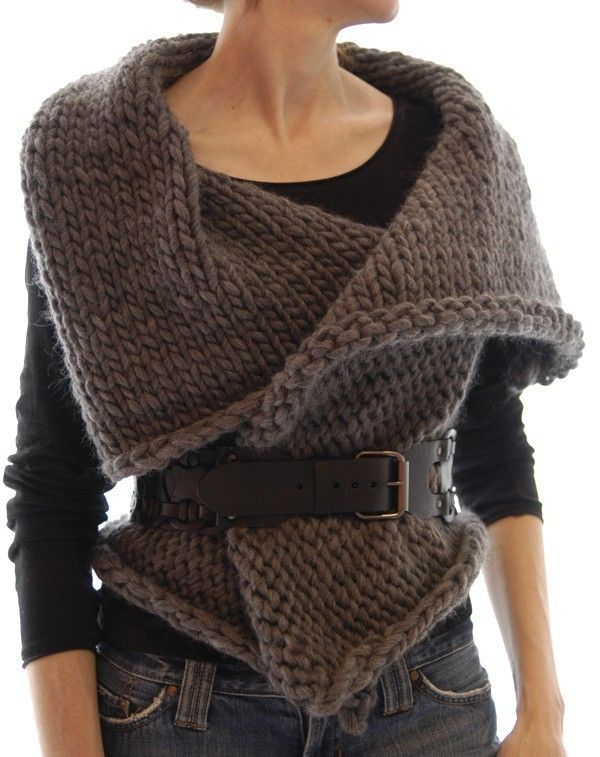 the knitted rectangle with armholes. . . . wearable every which way.
