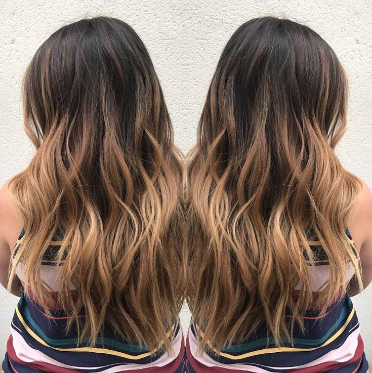 cool Модное окрашивание балаяж на темные волосы (50 фото) — Солнечные блики на локонах