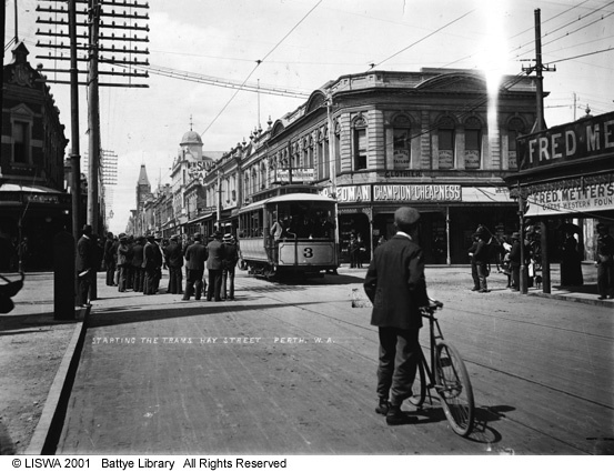 1899 - The first Perth trams, Hay Street, Perth.