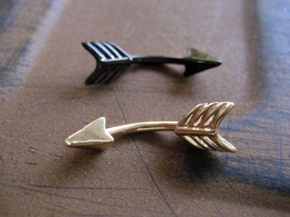 Arrow Belly Button Jewelry Ring- 14 Gauge Eyebrow Conch Snug Ear Eye Brow Piercing Navel Bar Barbell 14g G Stud