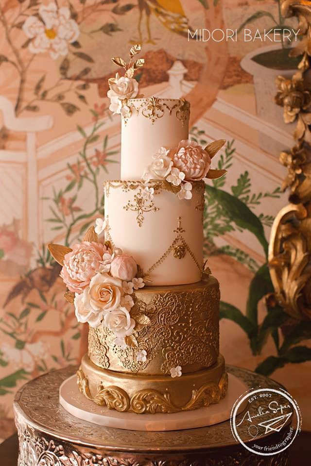 wedding cakes los angeles prices%0A Gold and Rose Cakes with hand sculpted sugar flowers and gold lacework by  Midori u