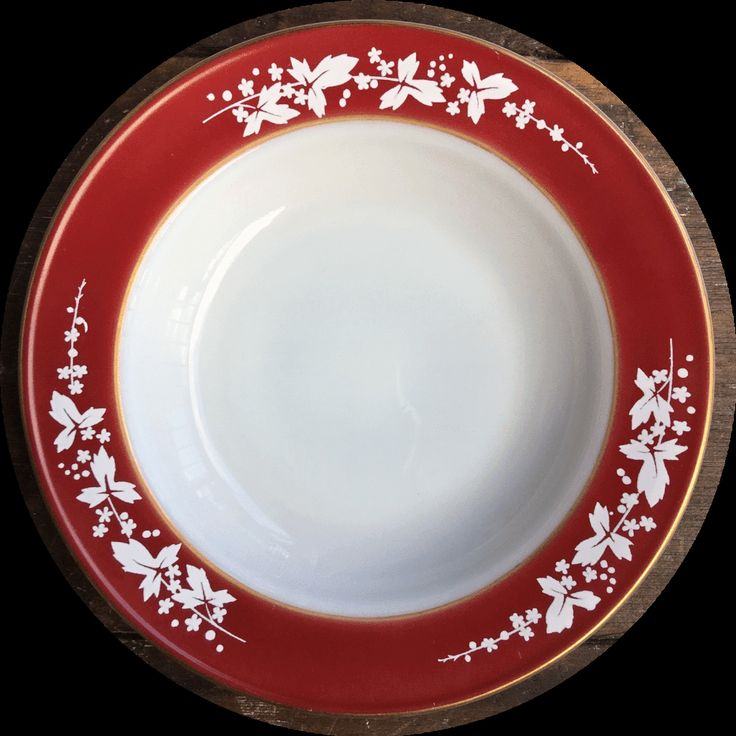 Pyrex Hawthorn Red Soup Plate