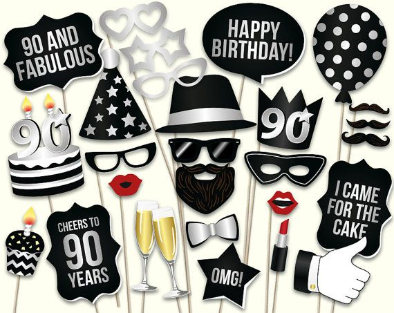 90th birthday photo booth props printable PDF. 90th birthday props. Ninetieth birthday party supplies. Mustache, lips, 90th birthday ideas