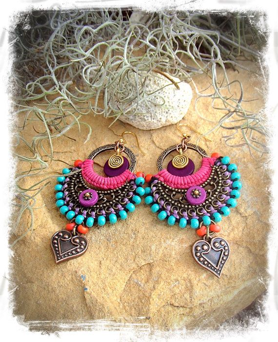PURPLE Indie earrings BOHO Heart earrings Hop Pink Macrame Bikini jewelry Colorful Summer Turquoise Oriental jewelry festival GPyoga