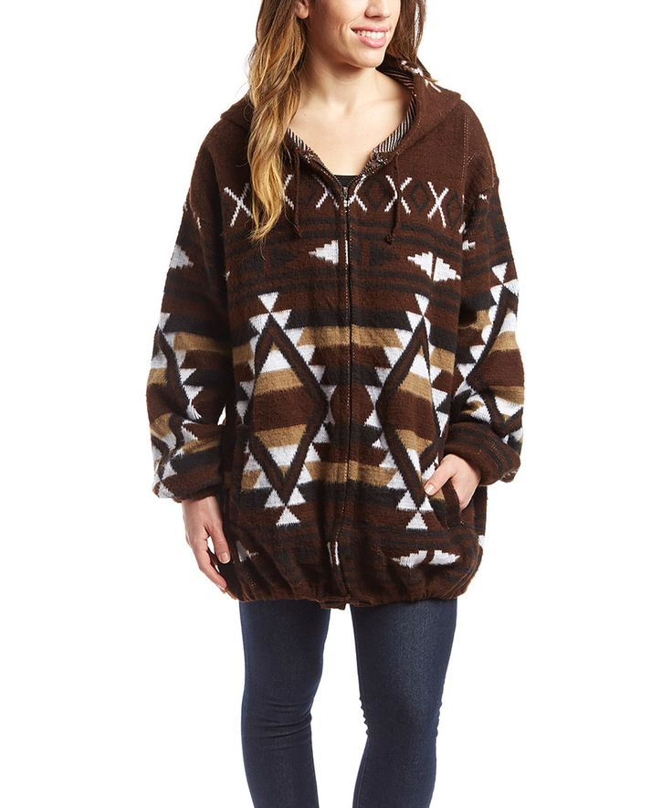 EARTH RAGZ Southwest Chocolate Geo Wool-Blend Hoodie by EARTH RAGZ #zulily #zulilyfinds