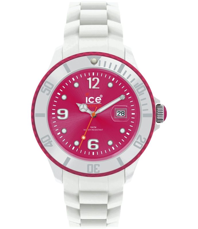 Ice-Watch Unisex Ice-White SI.WP.B.S.11 White Silicone Quartz Watch with Pink Dial