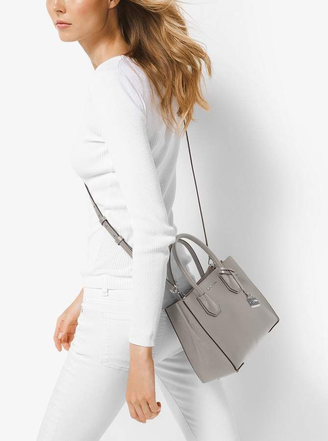 228a1e3c935b Michael Michael Kors Mercer Leather Crossbody Bag - Pearl Grey Handbag MK  Purse
