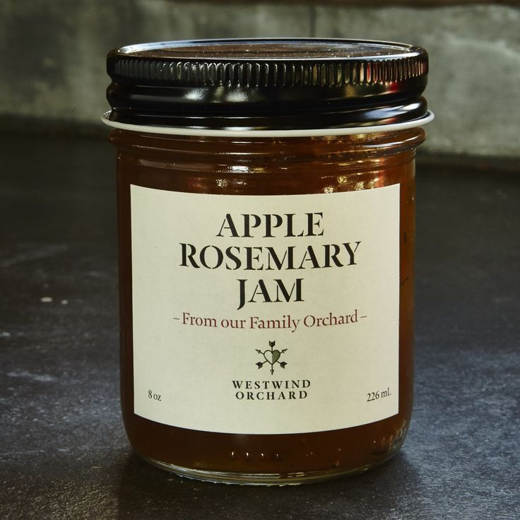 """This """"marmellata di mele e rosmarino"""" is a simple but delicious recipe given to us from """"Nonna Pia"""". It's made with our handpicked organic apples, rosemary, sugar and lemon. Net Weight: 8 oz."""