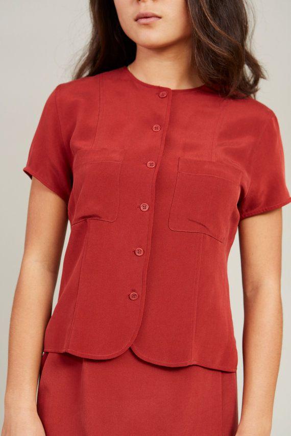 1990s Jones New York Burnt Orange Silk 2-piece Skirt Set S