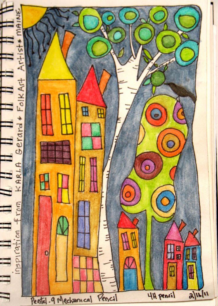 Gollywobbles: Inktense Watercolor pencils in my sketchbook