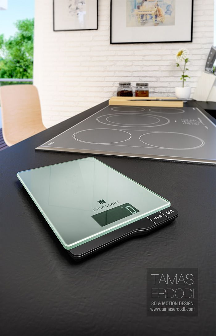 Digital kitchen scale product visualisation interior and studio renders.  #3D #Render #kitchen #food #digital #modern #glass #cinema4d #vrayforc4d #interior