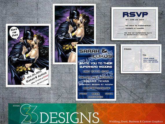 superhero wedding diy custom wedding invitation set invitation save the date rsvp - Superhero Wedding Invitations