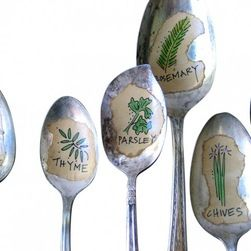 Spoon Herb Garden Markers - A one-of-a-kind way to mark your herbs. A set of five hand-illustrated herbs--chives, rosemary, sage, thyme, and basil--displayed on old silverplate spoons. Each drawing is done by me in archival ink and colored by hand. These are mini works of art.