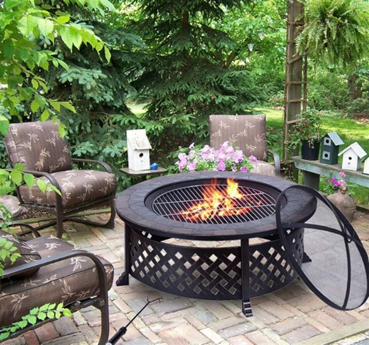 Outsunny Round Outdoor Garden Metal Fire Pit Black In 2019