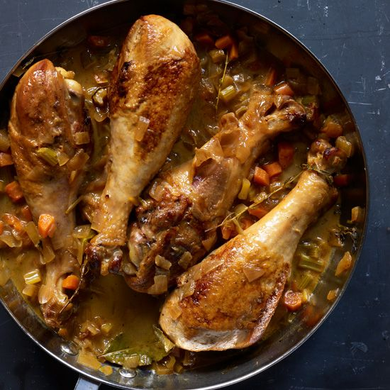Apple Cider-Braised Turkey Drumsticks // Easy Recipes for a First #Thanksgiving: http://www.foodandwine.com/slideshows/easy-recipes-for-a-first-thanksgiving #foodandwine