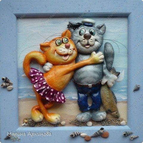 Картина панно рисунок Лепка Ну как без котиков? Тесто соленое фото 1