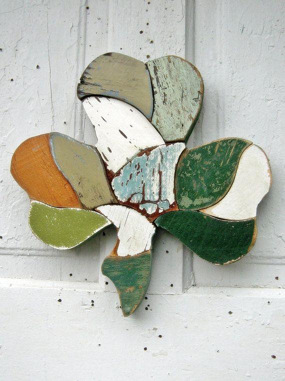 Wall Shamrock Recycled Wood Mosaic Art Irish Decor by woodenaht, $36.00