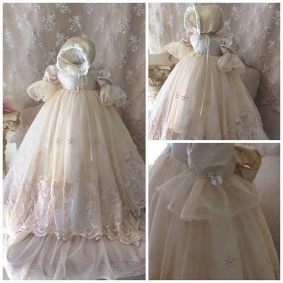 Victorian christening heirloom Gown//Lace by ElenaCollectionUSA, $425.00