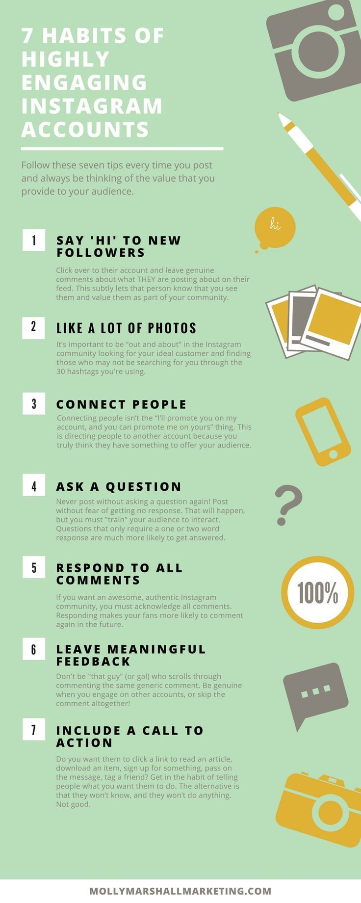 Seven Ways To Increase Your Instagram Engagement. Remember to follow these tips every time you post and always consider the value that you are bringing to your audience.