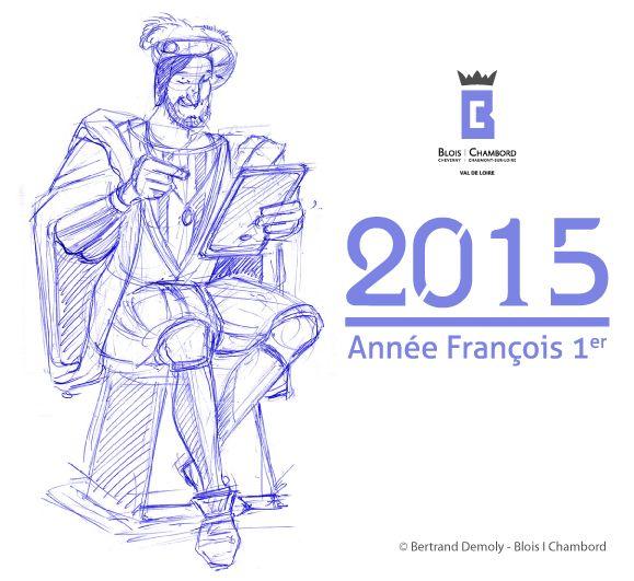 Dessin de Bertrand Demoly - François 1er avec sa tablette numérique