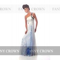 One shoulder Long White Evening Dresses | Fanny Crown